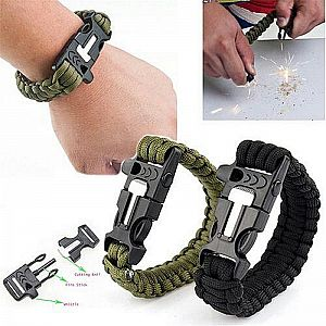 Survival Bracelet Outdoors Gelang Outdoor Gelang Peluit Darurat Api Fire Starter  Multifungsi – 827